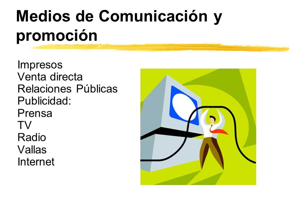 Medios de Comunicación y promoción Impresos Venta directa Relaciones Públicas Publicidad: Prensa TV Radio Vallas Internet
