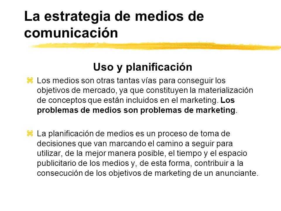 La estrategia de medios de comunicación Uso y planificación zLos medios son otras tantas vías para conseguir los objetivos de mercado, ya que constitu