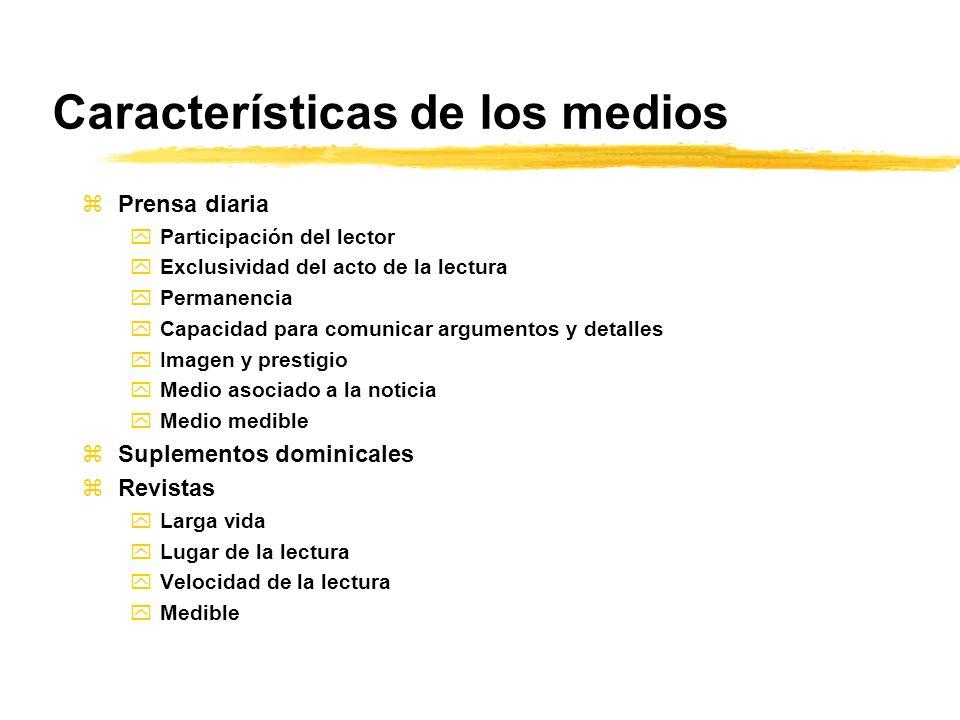 Características de los medios zPrensa diaria yParticipación del lector yExclusividad del acto de la lectura yPermanencia yCapacidad para comunicar arg