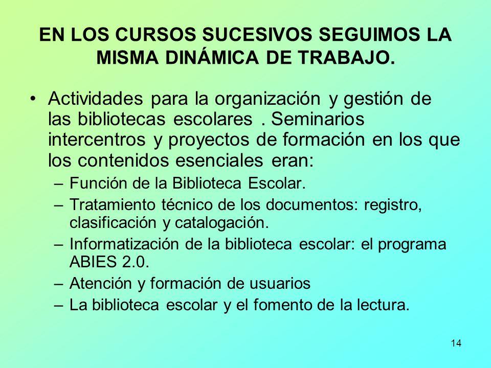 14 EN LOS CURSOS SUCESIVOS SEGUIMOS LA MISMA DINÁMICA DE TRABAJO. Actividades para la organización y gestión de las bibliotecas escolares. Seminarios