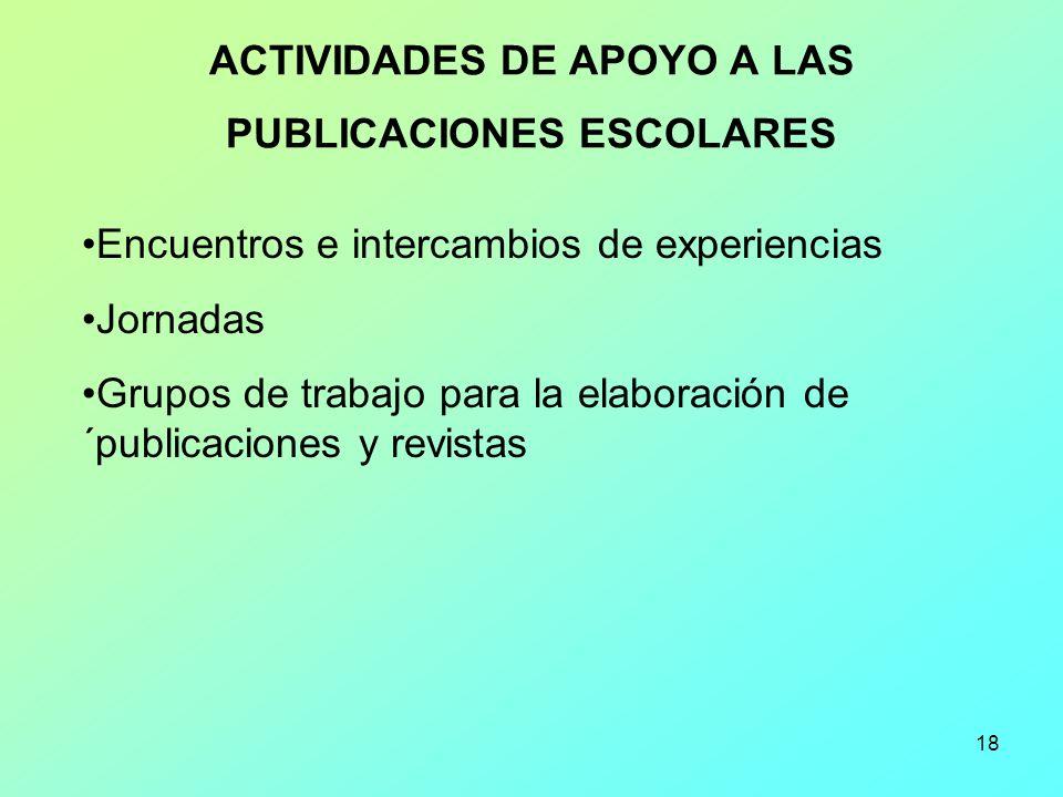 18 ACTIVIDADES DE APOYO A LAS PUBLICACIONES ESCOLARES Encuentros e intercambios de experiencias Jornadas Grupos de trabajo para la elaboración de ´pub