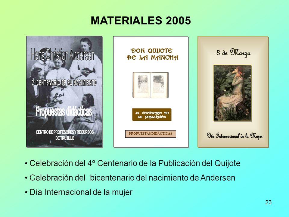 23 4º CENTENARIO DE SU PUBLICACIÓN PROPUESTAS DIDÁCTICAS Celebración del 4º Centenario de la Publicación del Quijote Celebración del bicentenario del