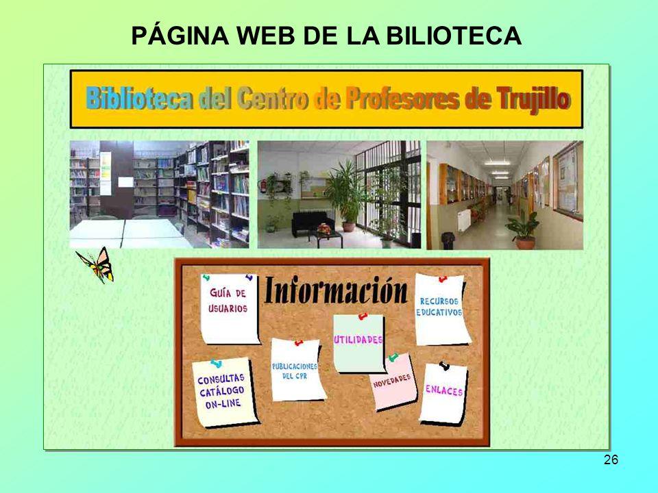 26 PÁGINA WEB DE LA BILIOTECA