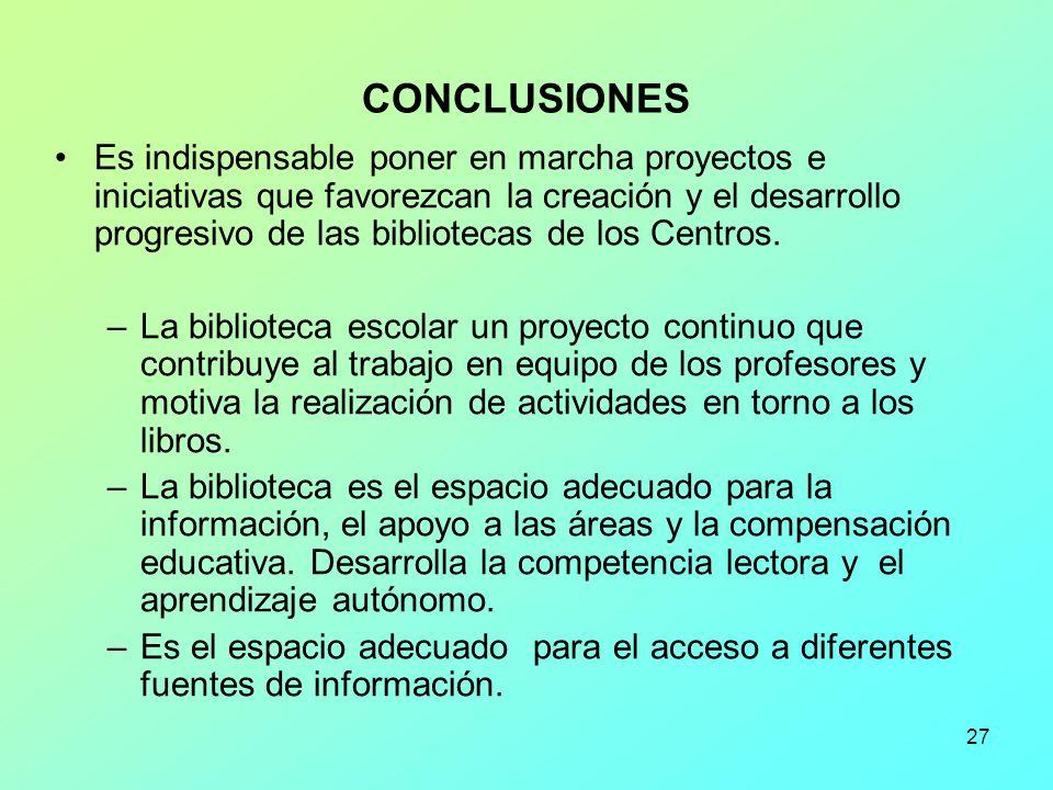 27 CONCLUSIONES Es indispensable poner en marcha proyectos e iniciativas que favorezcan la creación y el desarrollo progresivo de las bibliotecas de l