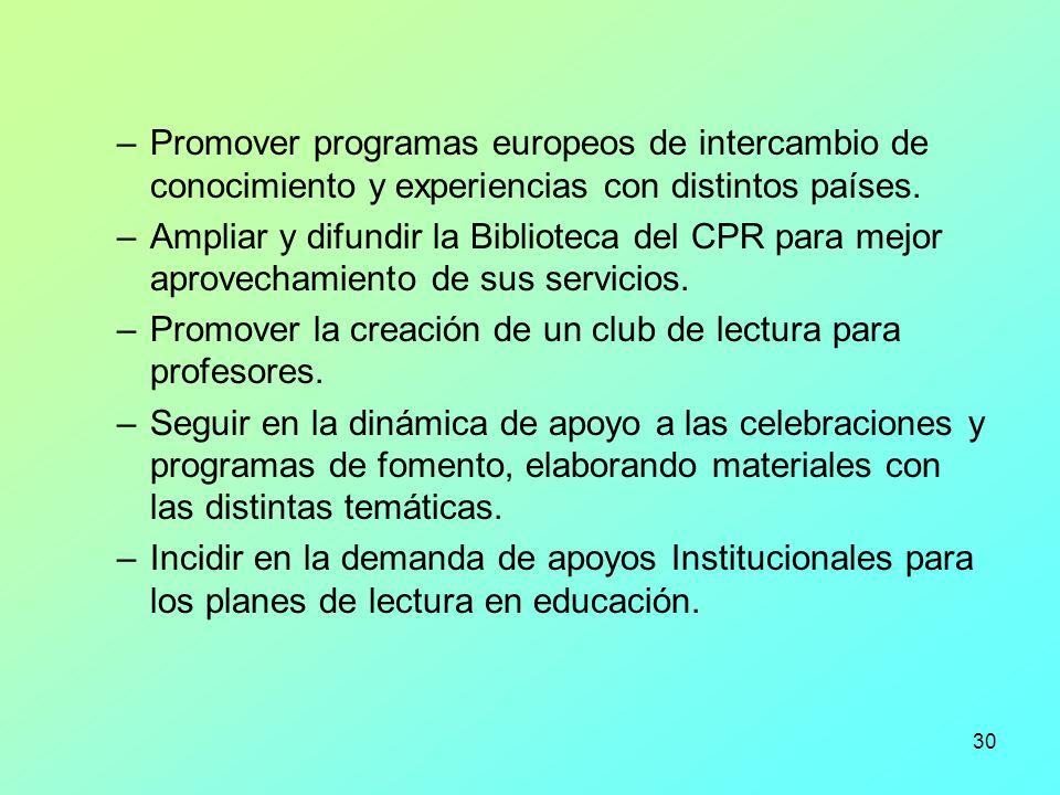 30 –Promover programas europeos de intercambio de conocimiento y experiencias con distintos países. –Ampliar y difundir la Biblioteca del CPR para mej