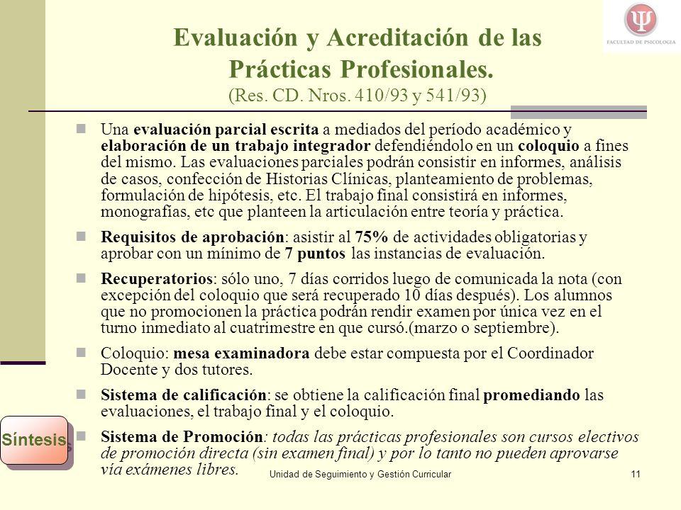 Unidad de Seguimiento y Gestión Curricular11 Evaluación y Acreditación de las Prácticas Profesionales.