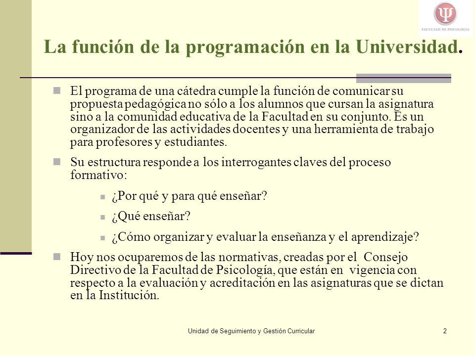 Unidad de Seguimiento y Gestión Curricular2 La función de la programación en la Universidad.
