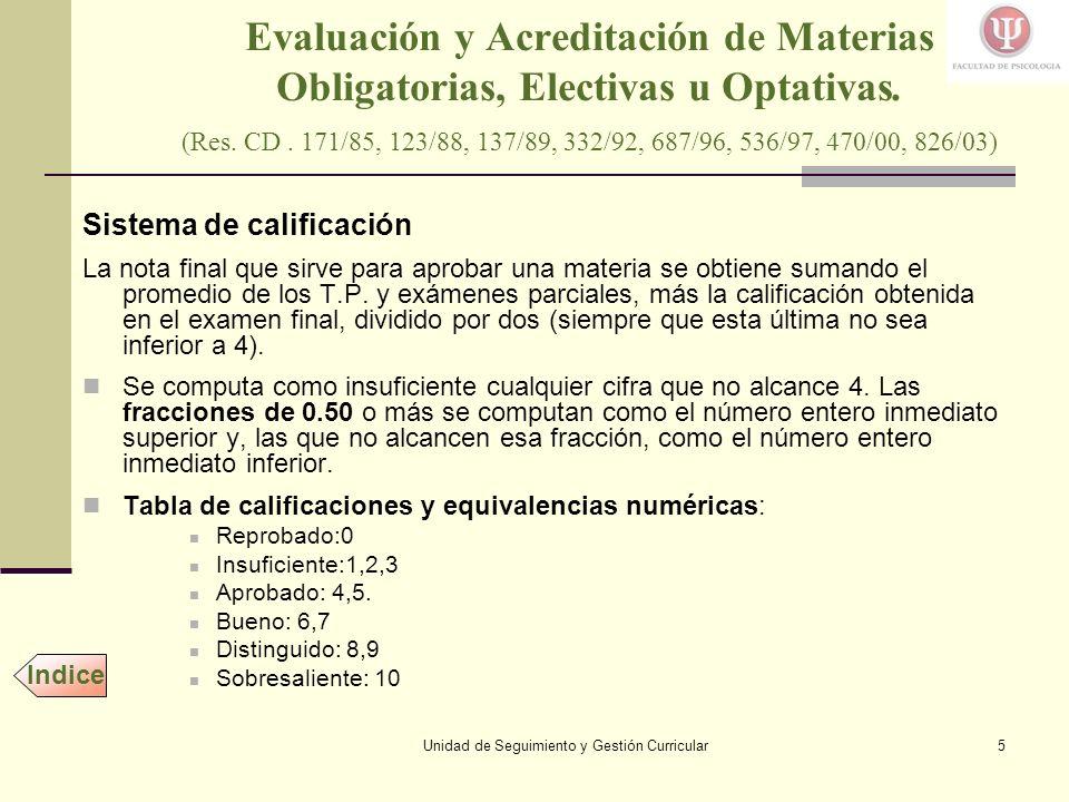 Unidad de Seguimiento y Gestión Curricular5 Evaluación y Acreditación de Materias Obligatorias, Electivas u Optativas.