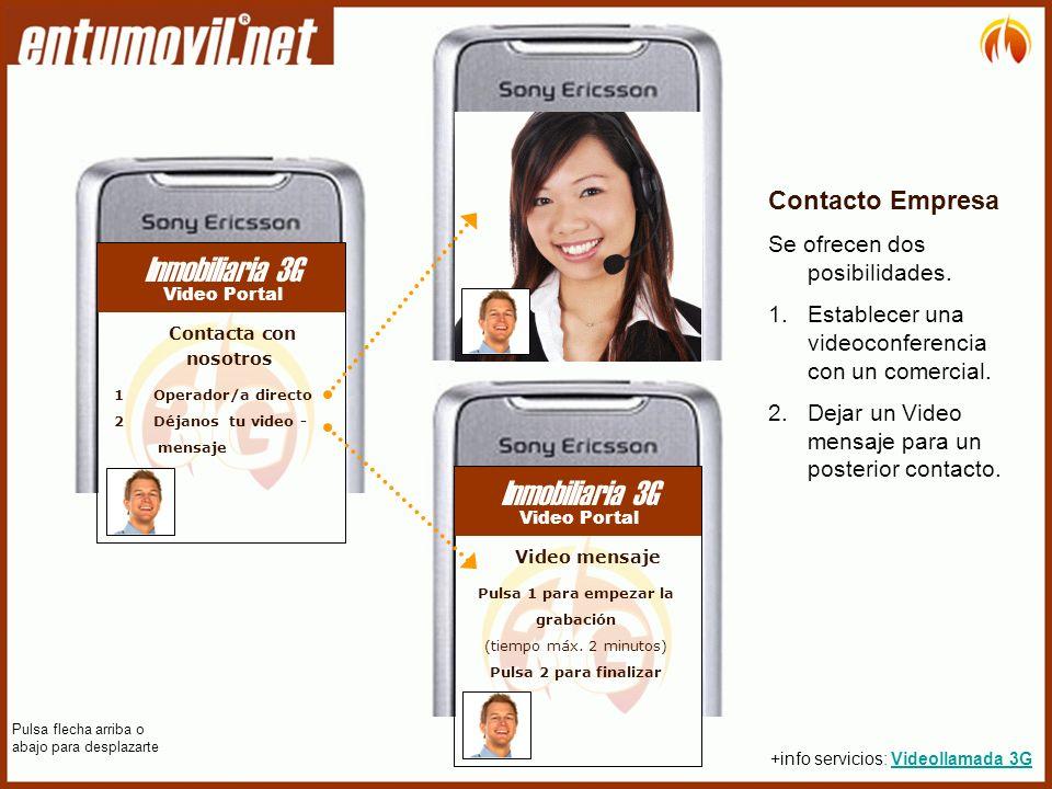 Contacto Empresa Se ofrecen dos posibilidades. 1.Establecer una videoconferencia con un comercial.