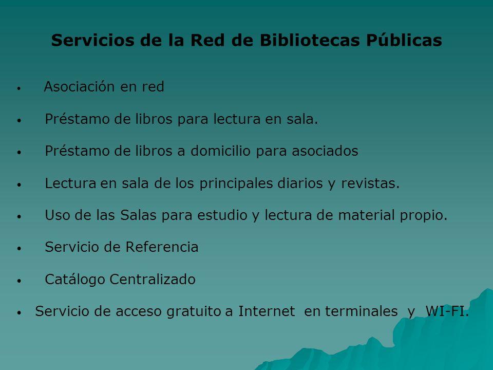 Servicios de la Red de Bibliotecas Públicas Asociación en red Préstamo de libros para lectura en sala. Préstamo de libros a domicilio para asociados L