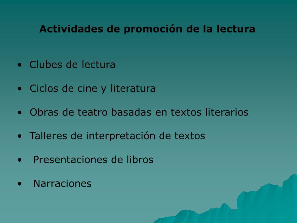 Actividades de promoción de la lectura Clubes de lectura Ciclos de cine y literatura Obras de teatro basadas en textos literarios Talleres de interpre