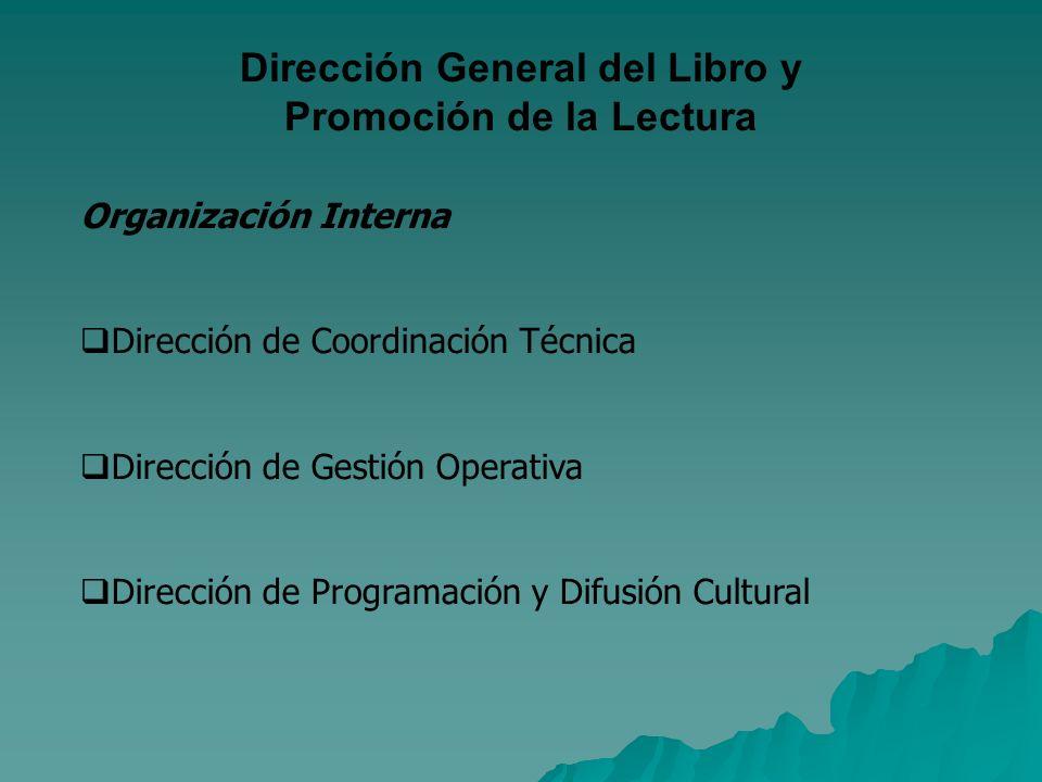 Dirección General del Libro y Promoción de la Lectura Organización Interna Dirección de Coordinación Técnica Dirección de Gestión Operativa Dirección