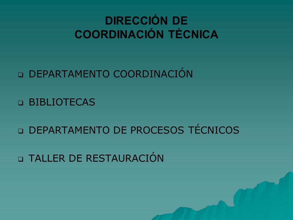 DIRECCIÓN DE COORDINACIÓN TÉCNICA DEPARTAMENTO COORDINACIÓN BIBLIOTECAS DEPARTAMENTO DE PROCESOS TÉCNICOS TALLER DE RESTAURACIÓN
