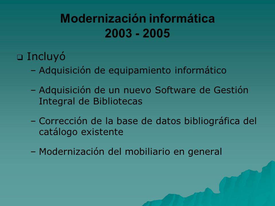 Modernización informática 2003 - 2005 Incluyó – –Adquisición de equipamiento informático – –Adquisición de un nuevo Software de Gestión Integral de Bi