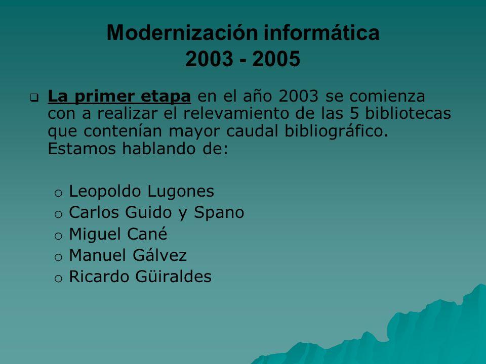 Modernización informática 2003 - 2005 La primer etapa en el año 2003 se comienza con a realizar el relevamiento de las 5 bibliotecas que contenían may