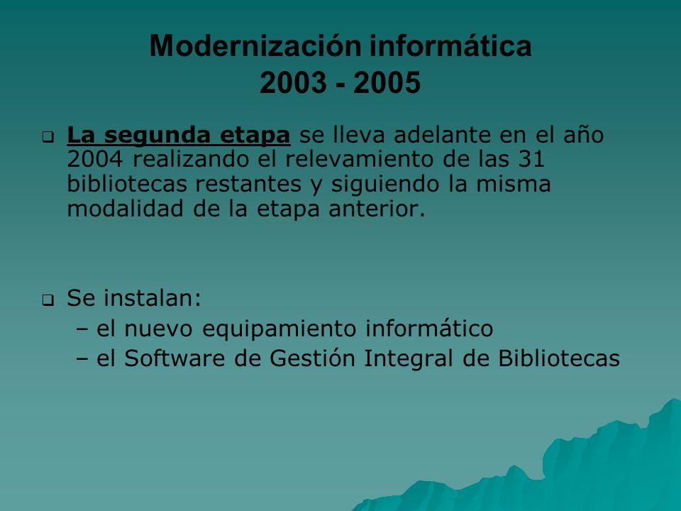 Modernización informática 2003 - 2005 La segunda etapa se lleva adelante en el año 2004 realizando el relevamiento de las 31 bibliotecas restantes y s