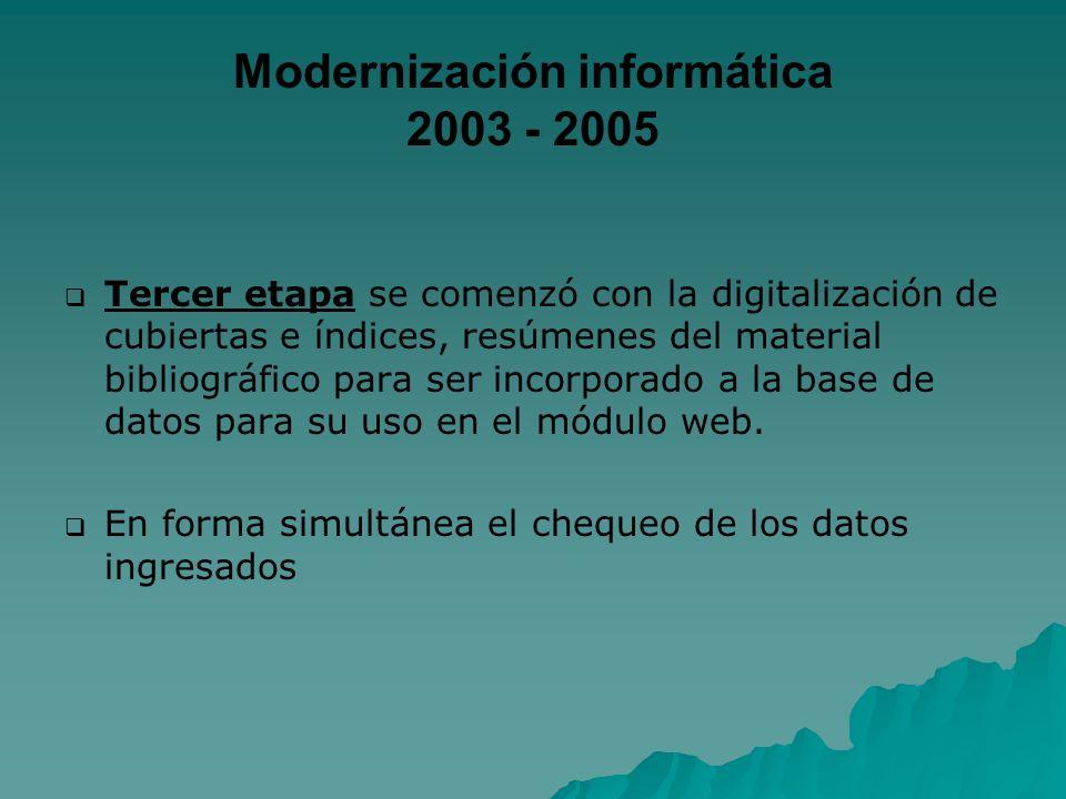 Modernización informática 2003 - 2005 Tercer etapa se comenzó con la digitalización de cubiertas e índices, resúmenes del material bibliográfico para