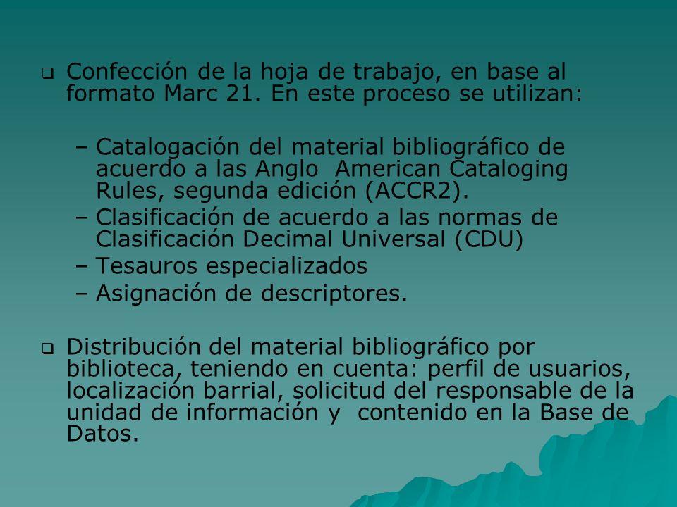 Confección de la hoja de trabajo, en base al formato Marc 21. En este proceso se utilizan: – –Catalogación del material bibliográfico de acuerdo a las
