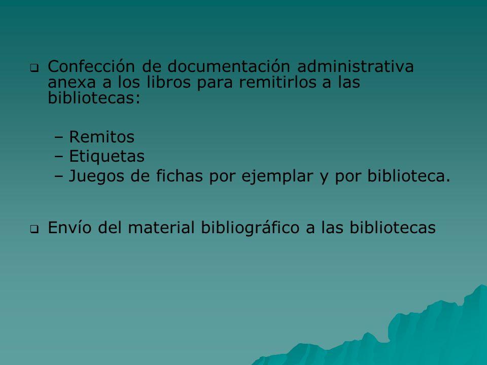 Confección de documentación administrativa anexa a los libros para remitirlos a las bibliotecas: – –Remitos – –Etiquetas – –Juegos de fichas por ejemp