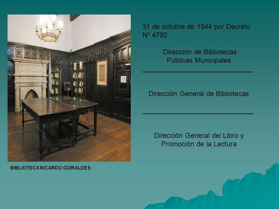 BIBLIOTECA RICARDO GÜIRALDES 31 de octubre de 1944 por Decreto Nº 4792: Dirección de Bibliotecas Públicas Municipales _____________________________ Di