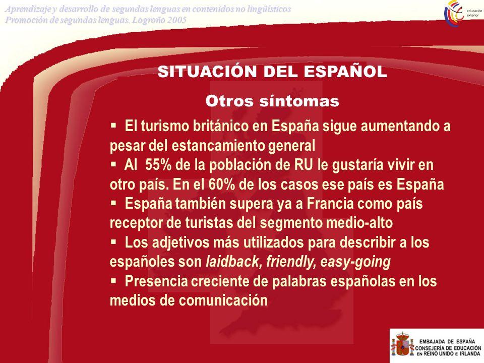 SITUACIÓN DEL ESPAÑOL Otros síntomas El turismo británico en España sigue aumentando a pesar del estancamiento general Al 55% de la población de RU le
