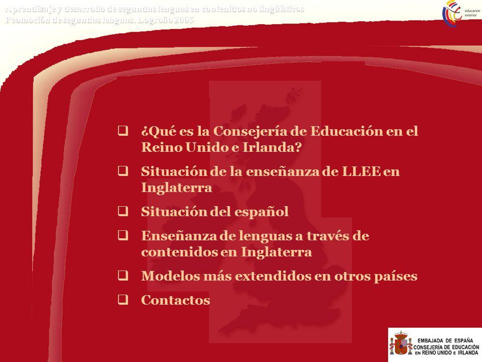 LA CONSEJERÍA DE EDUCACIÓN EN El REINO UNIDO E IRLANDA PROGRAMAS Y SERVICIOS EN APOYO DE LA ENSEÑANZA DEL ESPAÑOL COMO LE Publicaciones Material y actividades de promoción Formación del profesorado (inicial y continua) Centros de recursos Participación en programas institucionales Actividades con alumnos http://www.mec.es/educa/internacional/index.html RD1027/1993 por el que se regula la acción educativa española en el exterior.