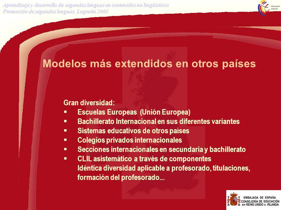 Modelos más extendidos en otros países Gran diversidad: Escuelas Europeas (Unión Europea) Bachillerato Internacional en sus diferentes variantes Siste