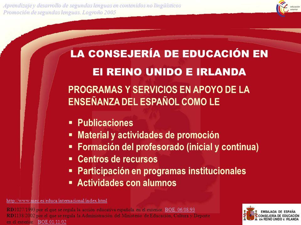 SITUACIÓN DEL ESPAÑOL Porcentaje de alumnos que continúa con la LE en A Level Aprendizaje y desarrollo de segundas lenguas en contenidos no lingüísticos Promoción de segundas lenguas.