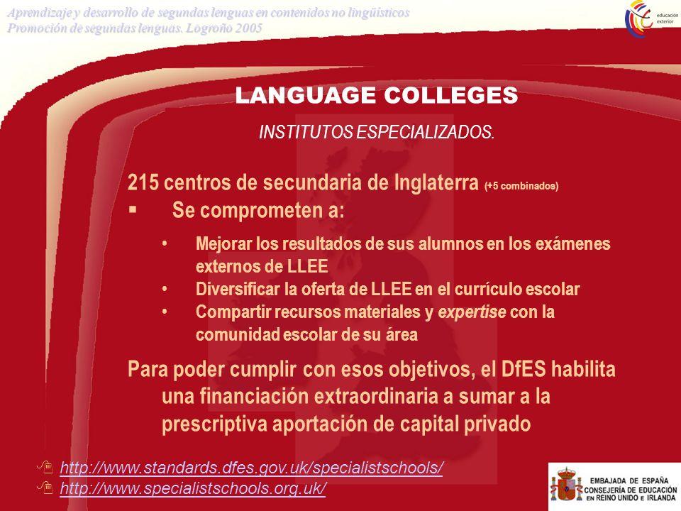 LANGUAGE COLLEGES INSTITUTOS ESPECIALIZADOS. 215 centros de secundaria de Inglaterra (+5 combinados) Se comprometen a: Mejorar los resultados de sus a