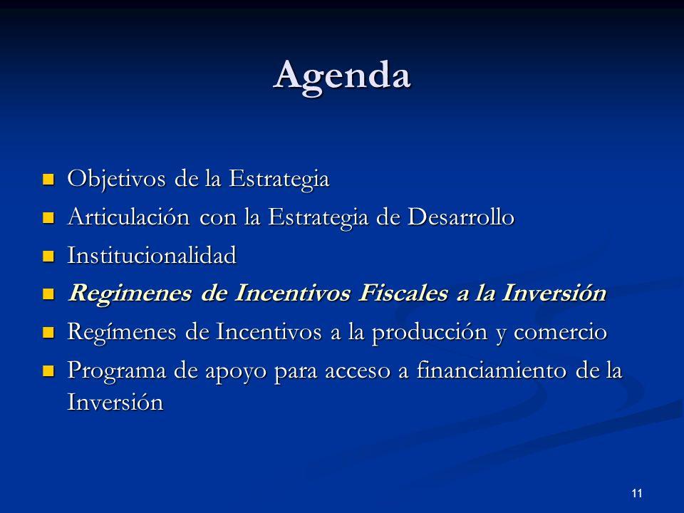 11 Agenda Objetivos de la Estrategia Objetivos de la Estrategia Articulación con la Estrategia de Desarrollo Articulación con la Estrategia de Desarro