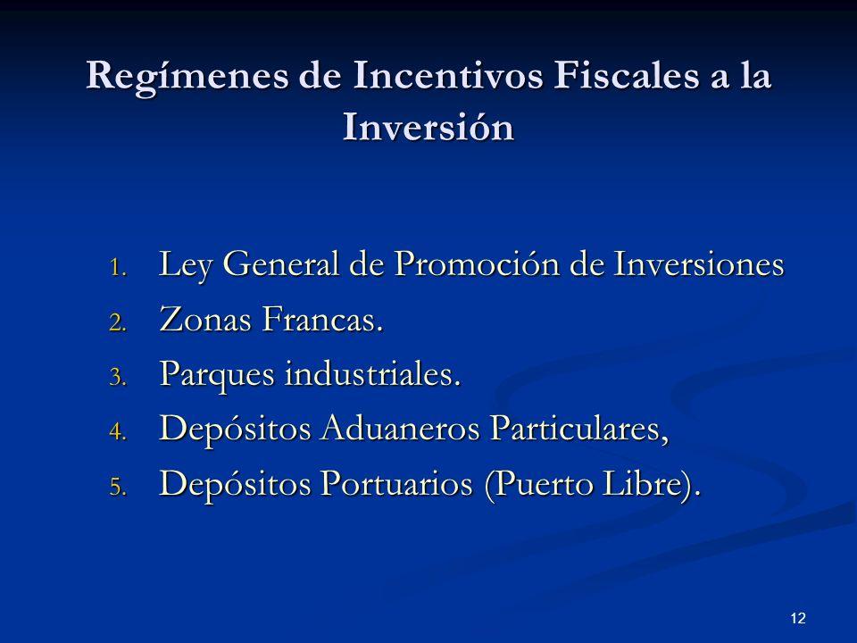 12 Regímenes de Incentivos Fiscales a la Inversión 1. Ley General de Promoción de Inversiones 2. Zonas Francas. 3. Parques industriales. 4. Depósitos