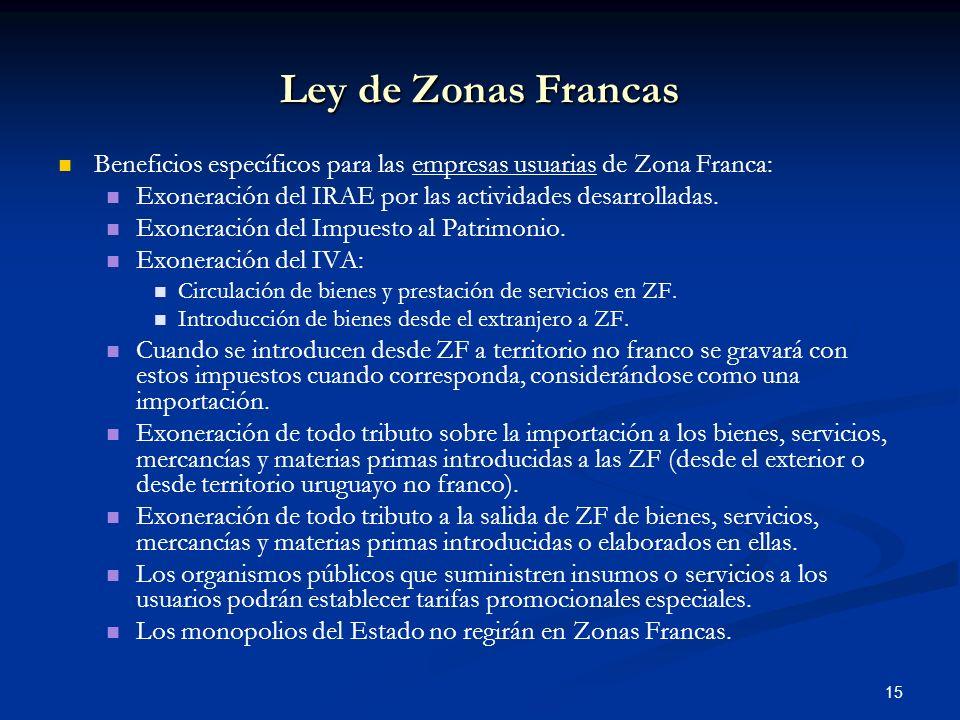 15 Ley de Zonas Francas Beneficios específicos para las empresas usuarias de Zona Franca: Exoneración del IRAE por las actividades desarrolladas.