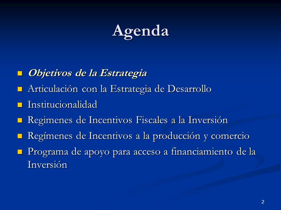 2 Agenda Objetivos de la Estrategia Objetivos de la Estrategia Articulación con la Estrategia de Desarrollo Articulación con la Estrategia de Desarrol