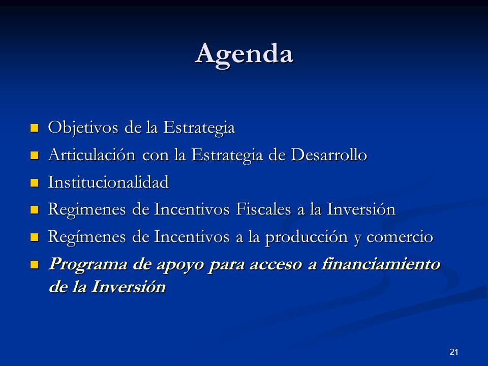 21 Agenda Objetivos de la Estrategia Objetivos de la Estrategia Articulación con la Estrategia de Desarrollo Articulación con la Estrategia de Desarro