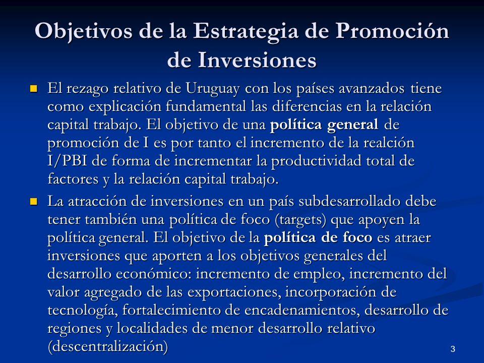 3 Objetivos de la Estrategia de Promoción de Inversiones El rezago relativo de Uruguay con los países avanzados tiene como explicación fundamental las diferencias en la relación capital trabajo.