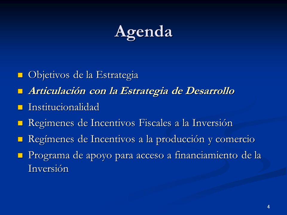 4 Agenda Objetivos de la Estrategia Objetivos de la Estrategia Articulación con la Estrategia de Desarrollo Articulación con la Estrategia de Desarrol