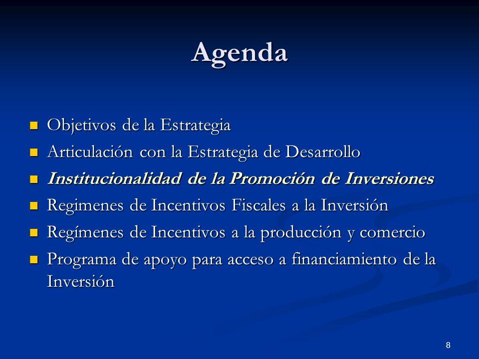 8 Agenda Objetivos de la Estrategia Objetivos de la Estrategia Articulación con la Estrategia de Desarrollo Articulación con la Estrategia de Desarrollo Institucionalidad de la Promoción de Inversiones Institucionalidad de la Promoción de Inversiones Regimenes de Incentivos Fiscales a la Inversión Regimenes de Incentivos Fiscales a la Inversión Regímenes de Incentivos a la producción y comercio Regímenes de Incentivos a la producción y comercio Programa de apoyo para acceso a financiamiento de la Inversión Programa de apoyo para acceso a financiamiento de la Inversión