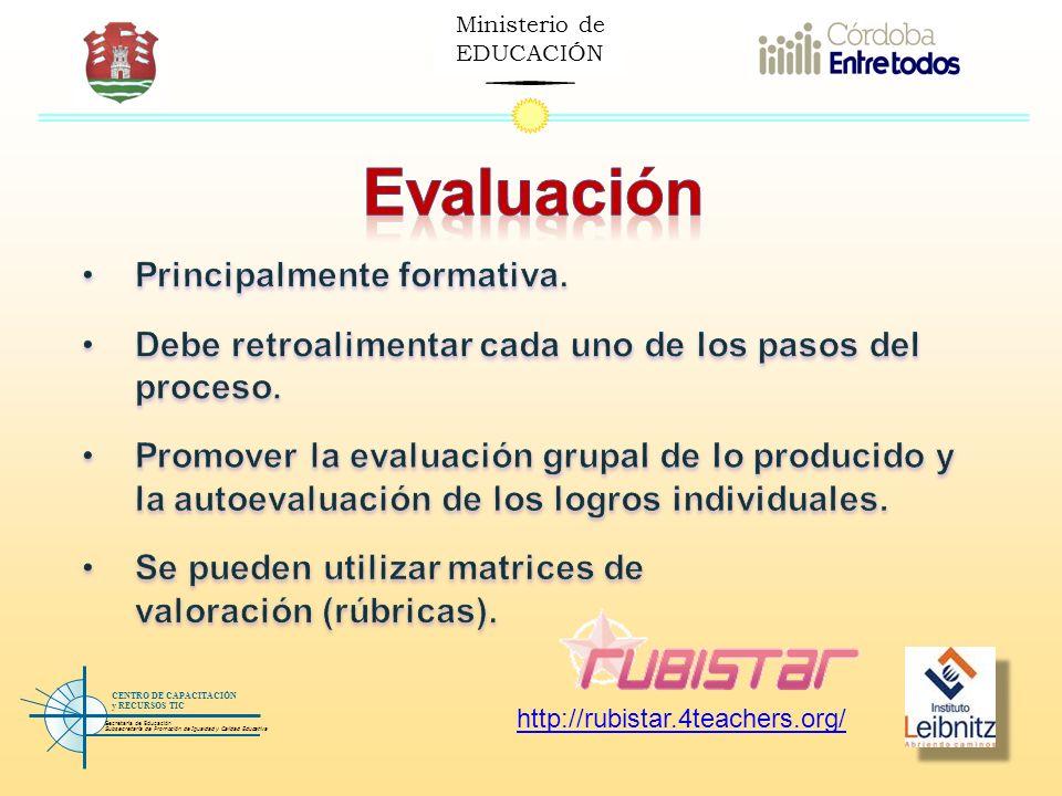 Ministerio de EDUCACIÓN Secretaría de Educación Subsecretaría de Promoción de Igualdad y Calidad Educativa CENTRO DE CAPACITACIÓN y RECURSOS TIC http: