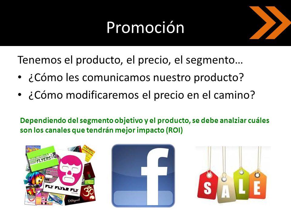 Promoción Tenemos el producto, el precio, el segmento… ¿Cómo les comunicamos nuestro producto? ¿Cómo modificaremos el precio en el camino? Dependiendo