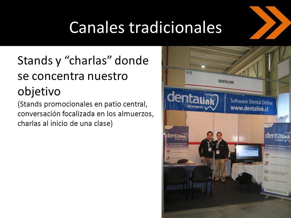 Canales tradicionales Stands y charlas donde se concentra nuestro objetivo (Stands promocionales en patio central, conversación focalizada en los almu