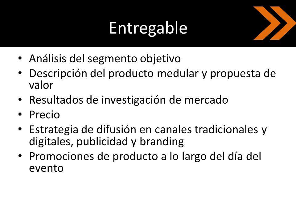 Entregable Análisis del segmento objetivo Descripción del producto medular y propuesta de valor Resultados de investigación de mercado Precio Estrateg
