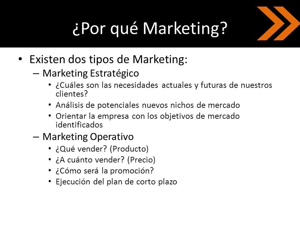 ¿Por qué Marketing? Existen dos tipos de Marketing: – Marketing Estratégico ¿Cuáles son las necesidades actuales y futuras de nuestros clientes? Análi
