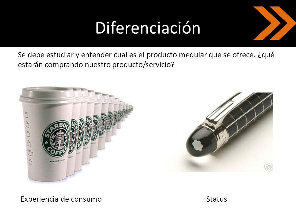 Diferenciación Se debe estudiar y entender cual es el producto medular que se ofrece. ¿qué estarán comprando nuestro producto/servicio? Experiencia de
