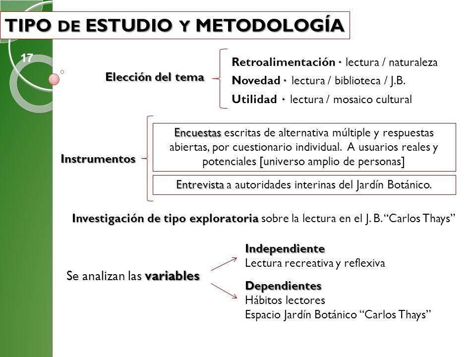TIPO DE ESTUDIO Y METODOLOGÍA TIPO DE ESTUDIO Y METODOLOGÍA Investigación de tipo exploratoria Investigación de tipo exploratoria sobre la lectura en