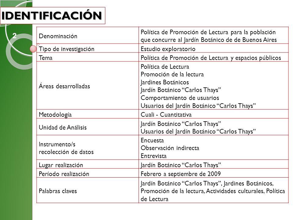 Denominación Política de Promoción de Lectura para la población que concurre al Jardín Botánico de de Buenos Aires Tipo de investigaciónEstudio explor
