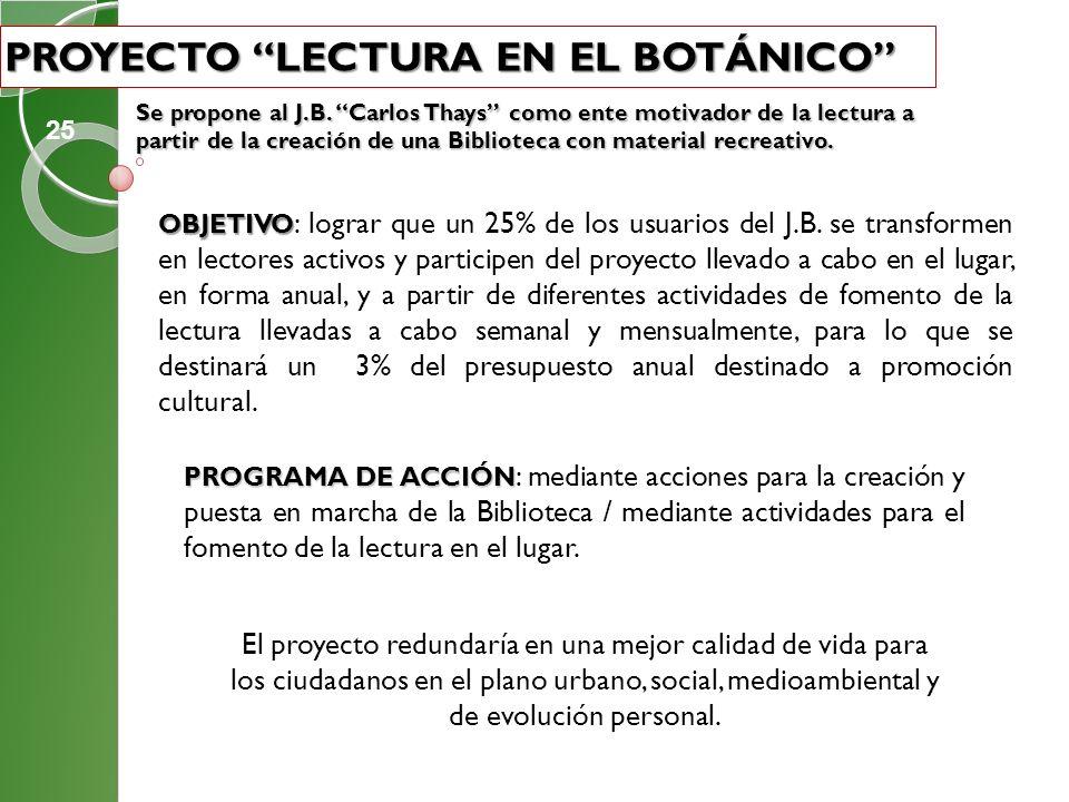 PROYECTO LECTURA EN EL BOTÁNICO Se propone al J.B. Carlos Thays como ente motivador de la lectura a partir de la creación de una Biblioteca con materi