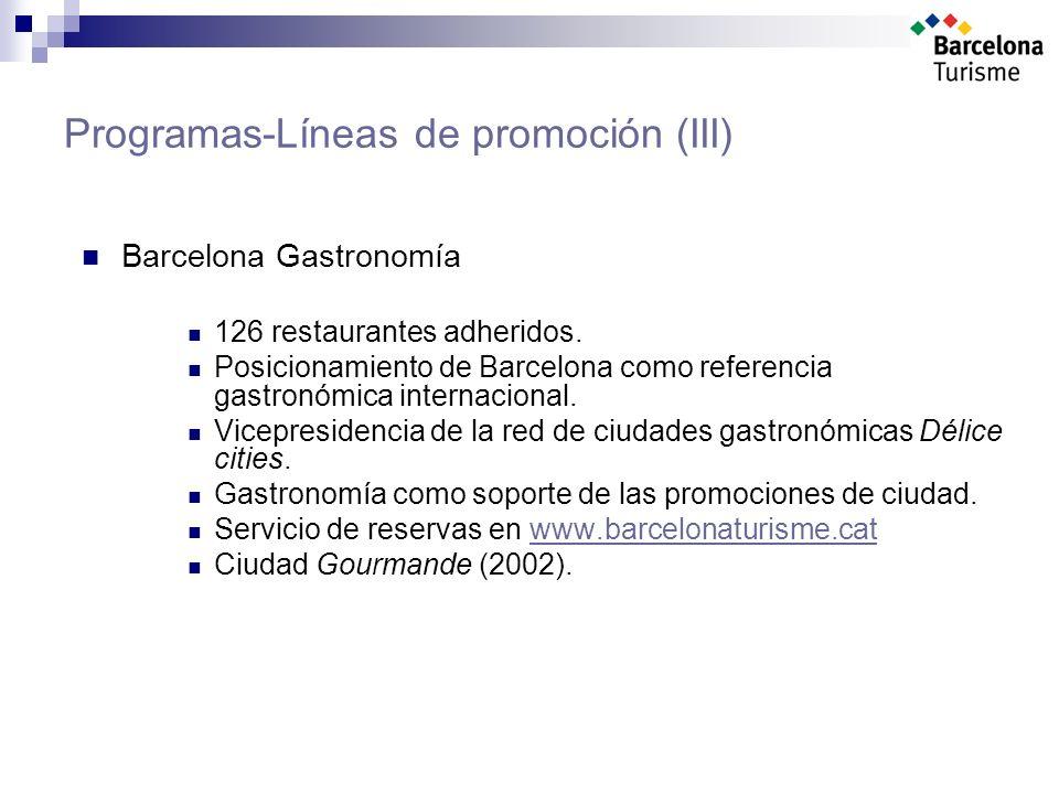 Programas-Líneas de promoción (III) Barcelona Gastronomía 126 restaurantes adheridos.