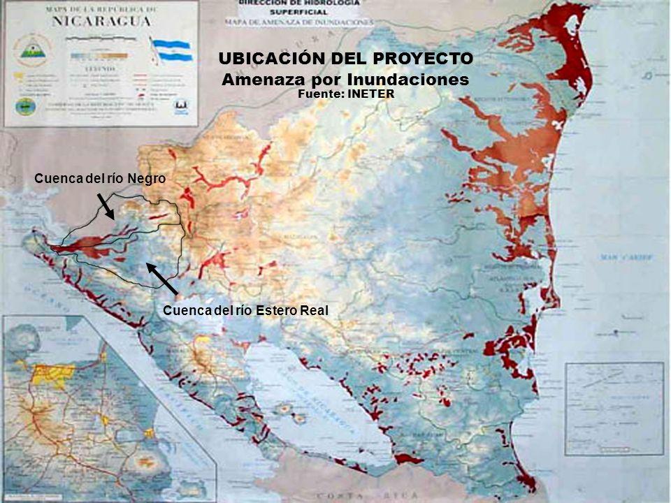 Cuenca del río Estero Real Cuenca del río Negro UBICACIÓN DEL PROYECTO Amenaza por Inundaciones Fuente: INETER