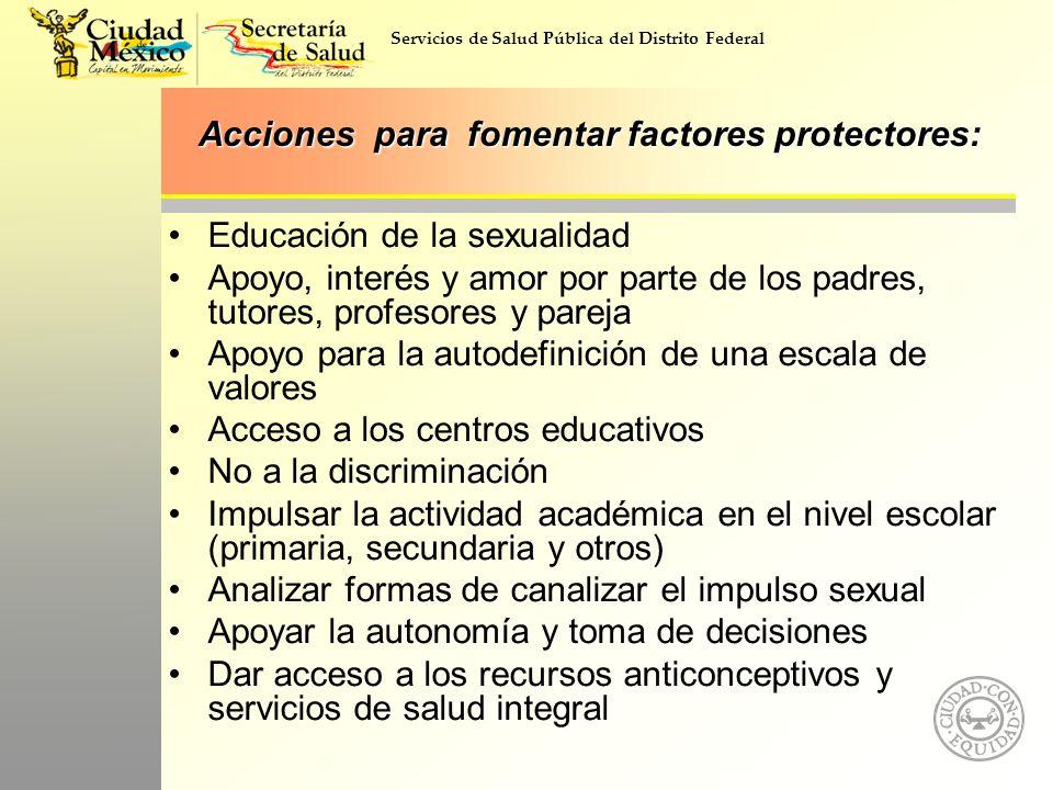Servicios de Salud Pública del Distrito Federal Acciones para fomentar factores protectores: Educación de la sexualidad Apoyo, interés y amor por part