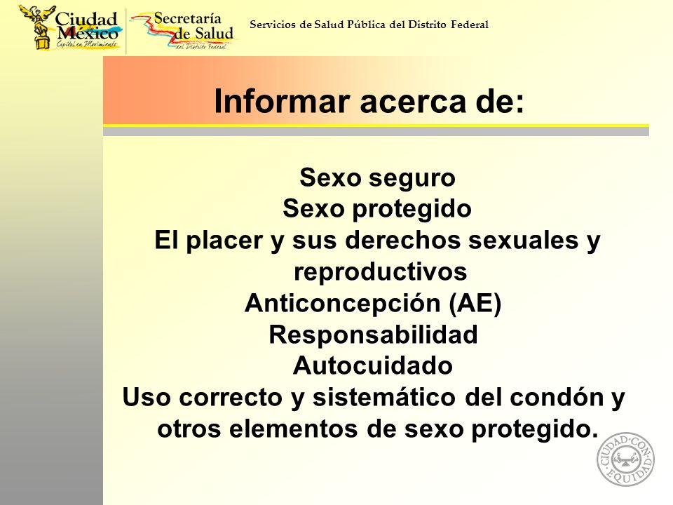 protegido sus derechos sexuales y reproductivos Anticoncepción (AE) Responsabilidad Informar acerca de: Sexo seguro Sexo protegido El placer y sus der